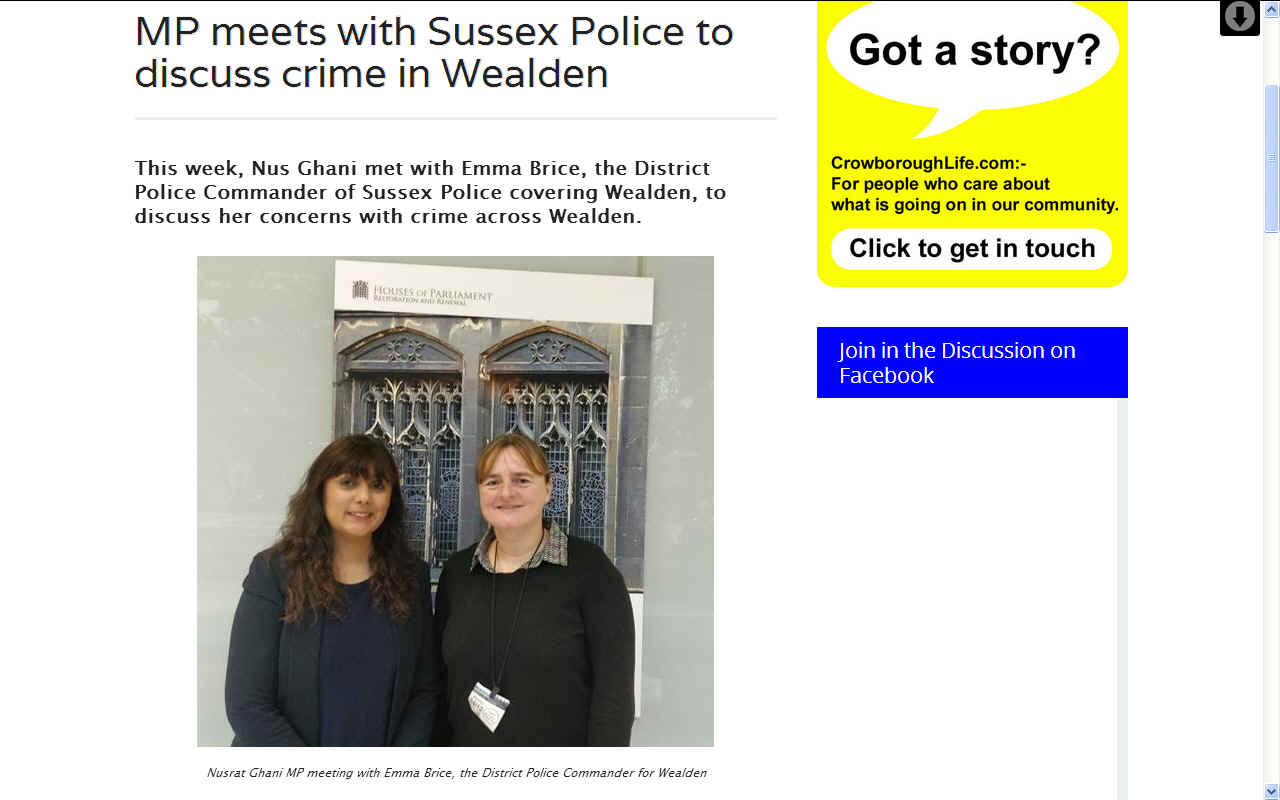 Nusrat Ghani with Emma Brice, Sussex Police