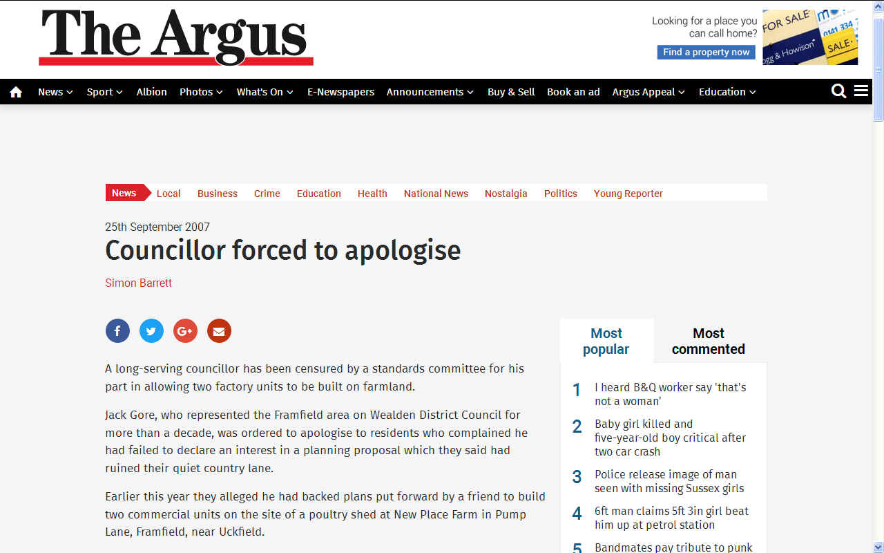 The Argus Jack Gore failed to declare an interest