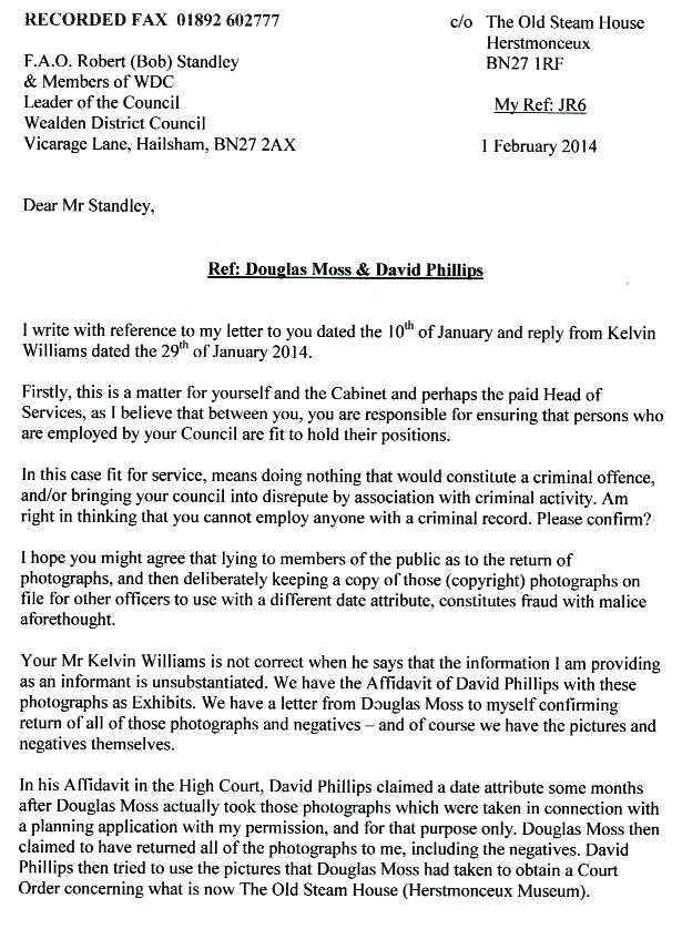 Letter to Councillor Robert Standley, reference fraud by David Phillips and Douglas Moss