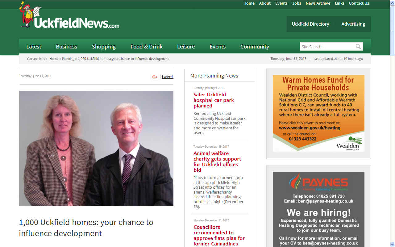 Uckfield News on Ann Newton and David Phillips 1,000 new homes build June 13 2013