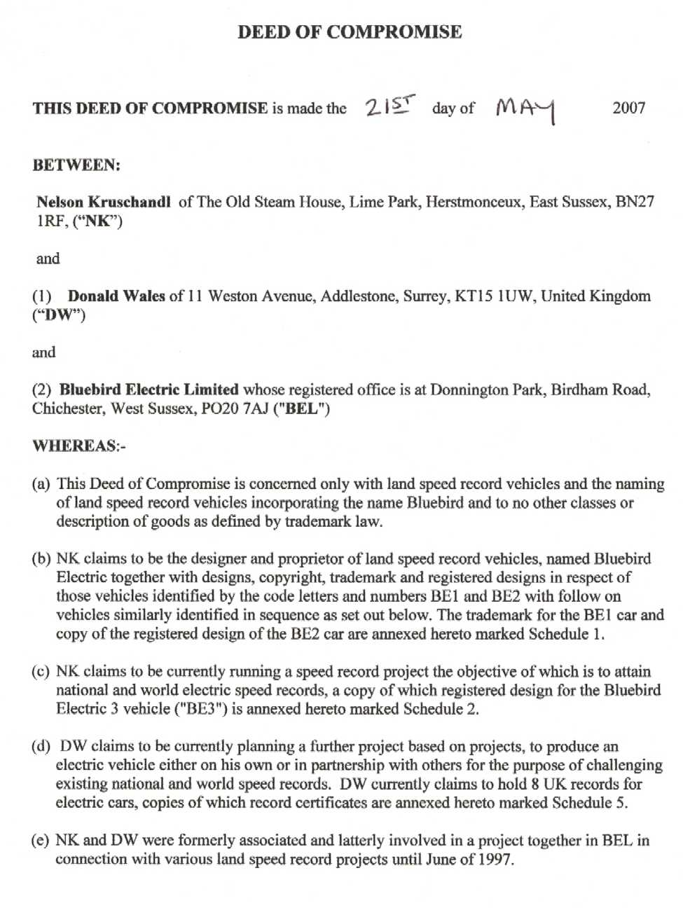 Agreement between Nelson Kruschandl and Don Wales as to use of the name Bluebird for electric vehicles