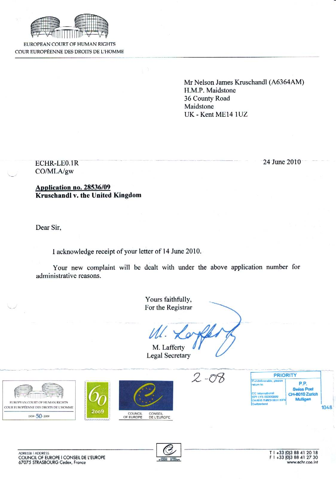 Application to the European Court of Human Rights June 2010