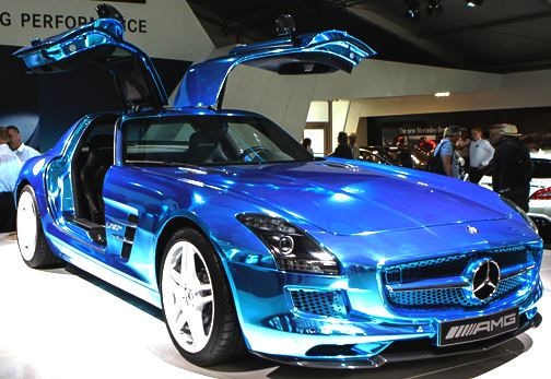 Mercedes car in striking blue colour