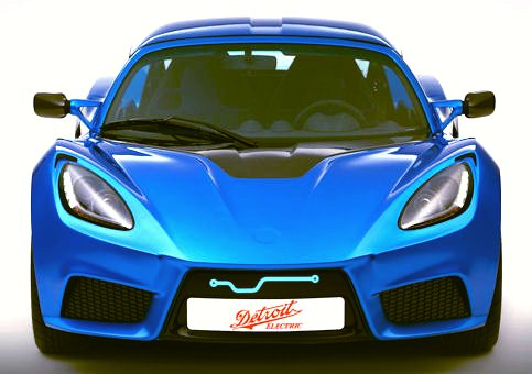 Electric sports coupe in blue