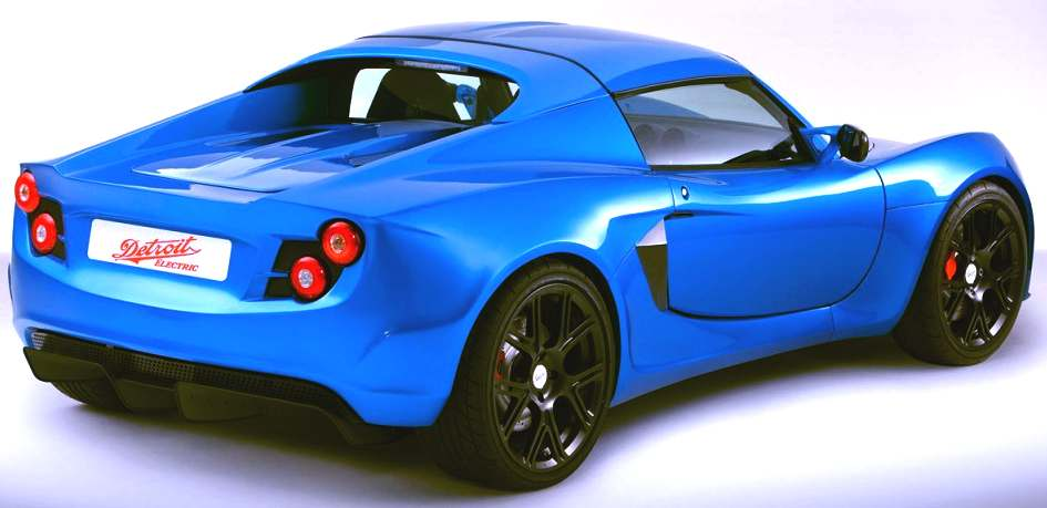 Detroit electric sports coupe in blue