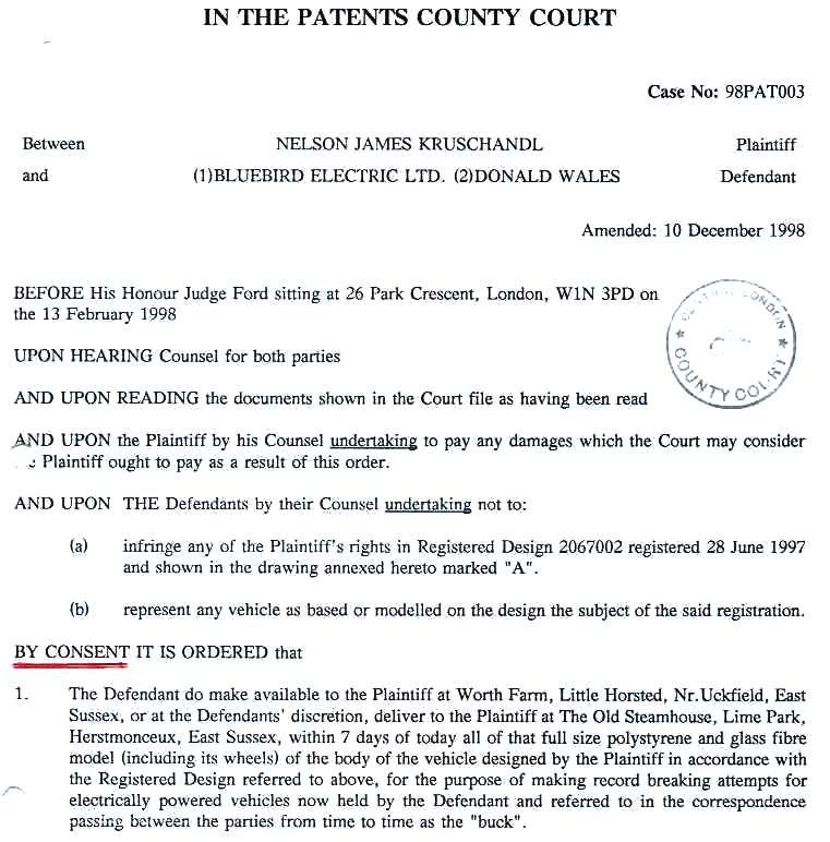 Consent Order, Don Wales, Injunction not to pass off against any of Nelson Kruschandl's designs