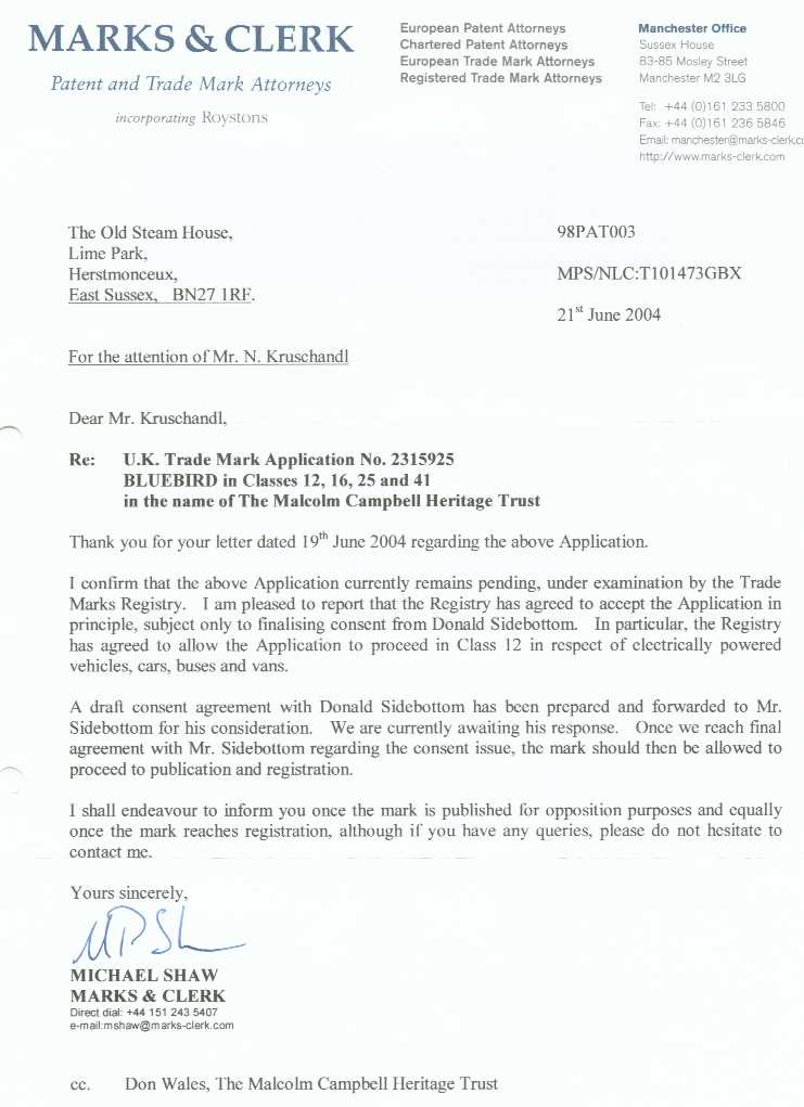 Letter from Marks & Clerk to Nelson Kruschandl confirming that electric cars had been added