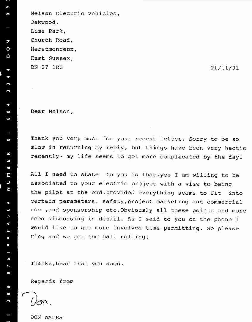 Letter from Don Wales to Nelson Kruschandl accepting the position as driver