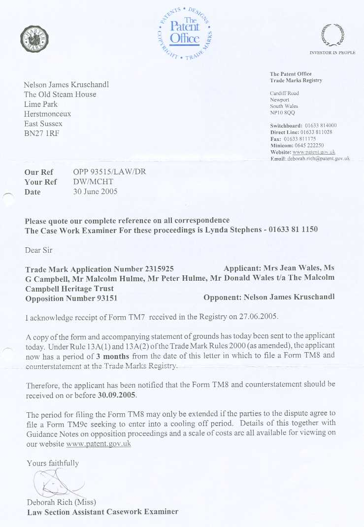 Letter from the Patent Office to Nelson Kruschandl confirming receipt of form TM7