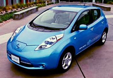 Blue electric car by Nissan