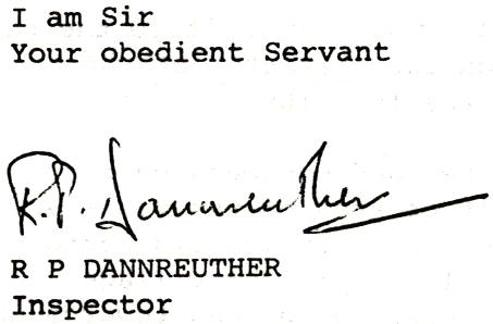 Inspector Dannreuther's signature