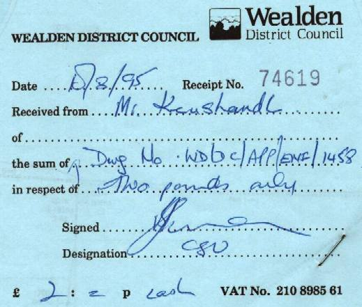 Receipt proving that Wealden Council's notice is defective from 1987